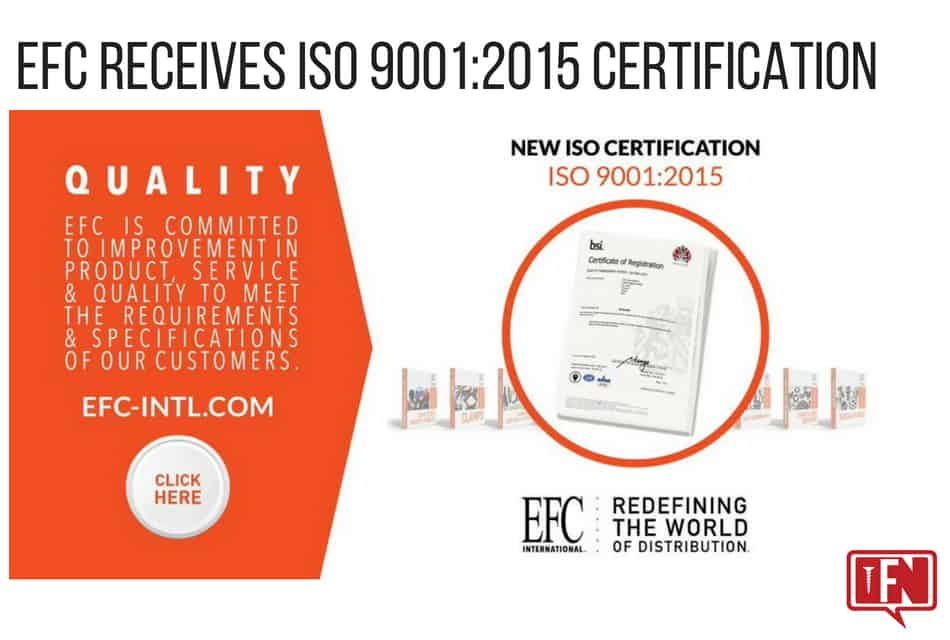 EFC Receives ISO 9001:2015 Certification