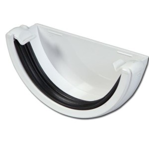 Half-Round Gutter Stop End Ext (White) | Guttering | PVC Gutter | PVC Rainwater Goods | Faster Plastics