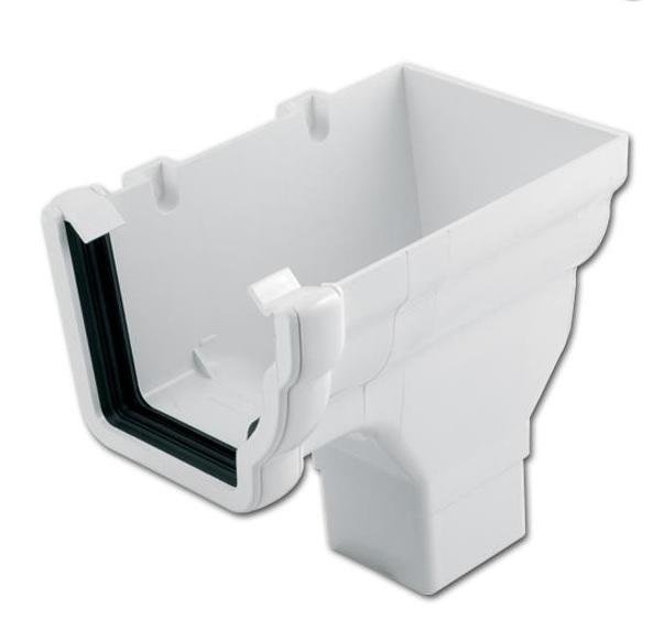 Ogee Gutter Stop End Outlet RH (White) | Guttering | PVC Gutter | PVC Rainwater Goods | Faster Plastics