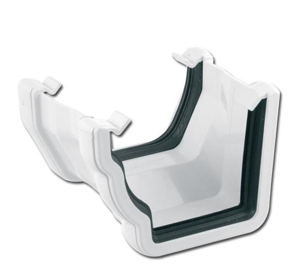 OgeeSquare Gutter Adptr LH (White)   Guttering   PVC Gutter   PVC Rainwater Goods   Faster Plastics