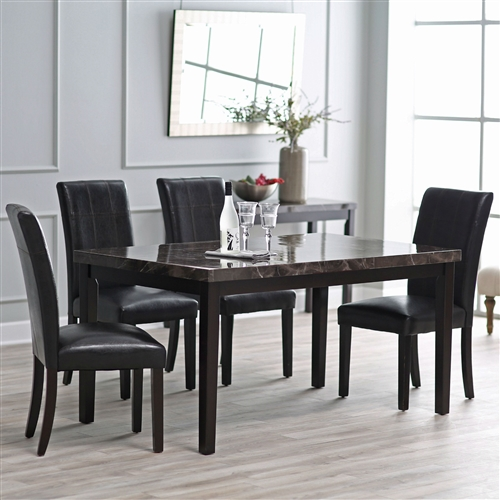 Contemporary 60 X 36 Inch Dining Table With Faux Marble