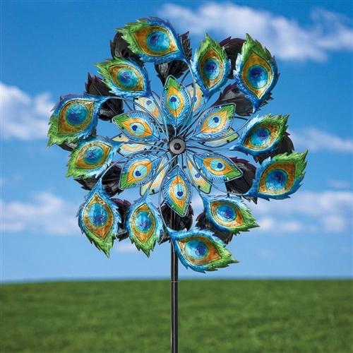 Peacock Solar Multi Color Wind Spinner Outdoor Lawn Garden Decor Fastfurnishings Com