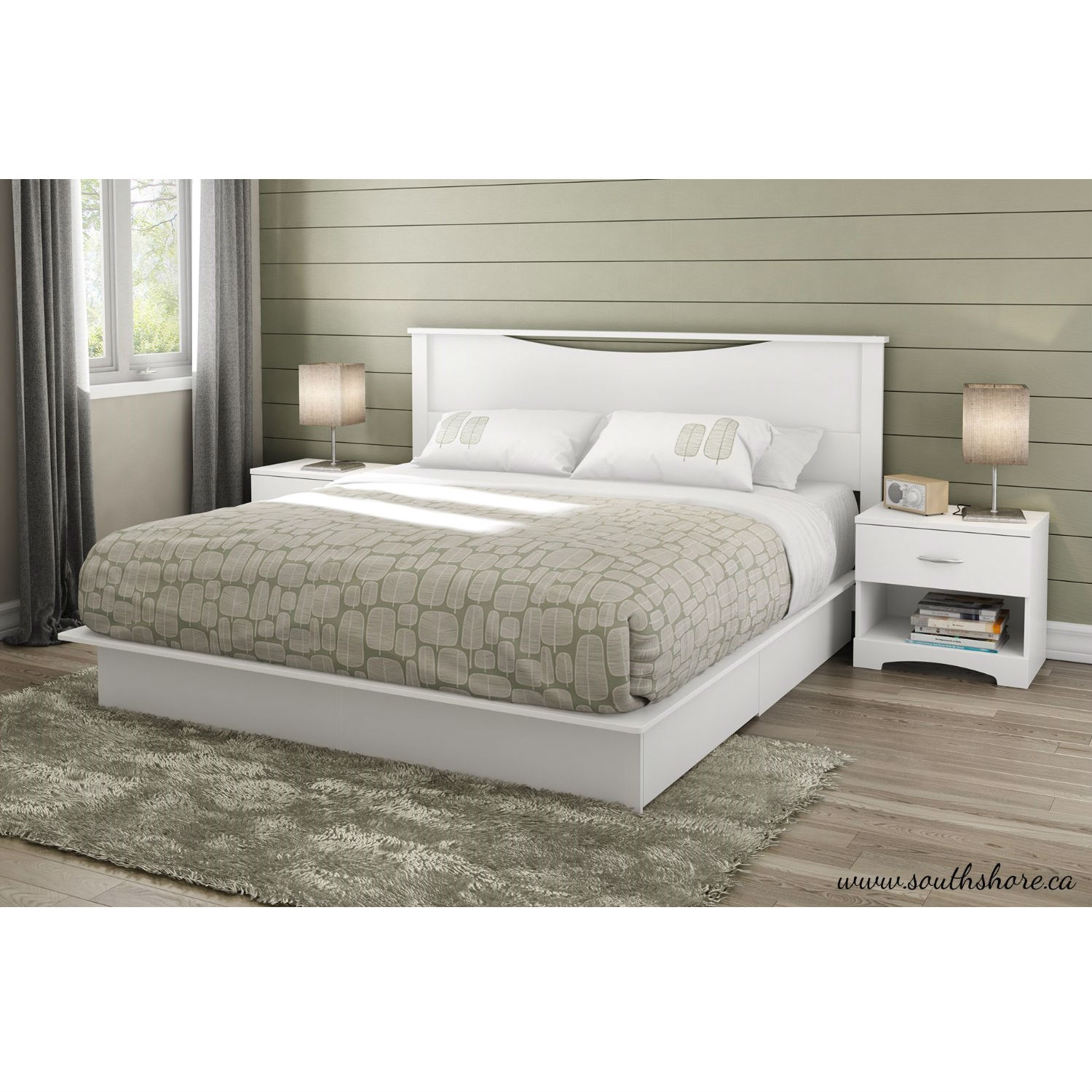 King Size Modern Platform Bed With Storage Drawers In