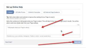 Facebook Business create page about