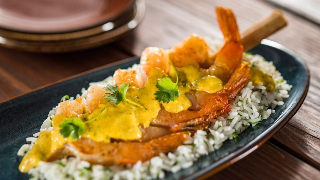 Sugar Cane Shrimp Skewer with Steamed Rice and Coconut-Lime Sauce
