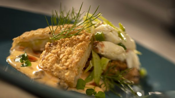 Fried Green Tomatoes with Blue Crab-fennel Salad, Remoulade and Smoked Paprika Oil