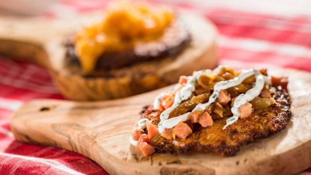 Potato Pancake with Caramelized Ham, Onions and Herb Sour Cream