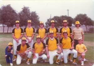 Teammates on city league fastpitch team, the Long Beach Coneheads, Bob and Jim Flanagan at bottom right.