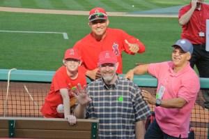 Angels pitcher Ernesto Frieri with Riley and Bob Flanagan, and friend Alex Maldanaldo, July 3, 2013