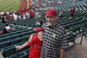 Delaney and Bob Flanagan at Angels game, July 3, 2013