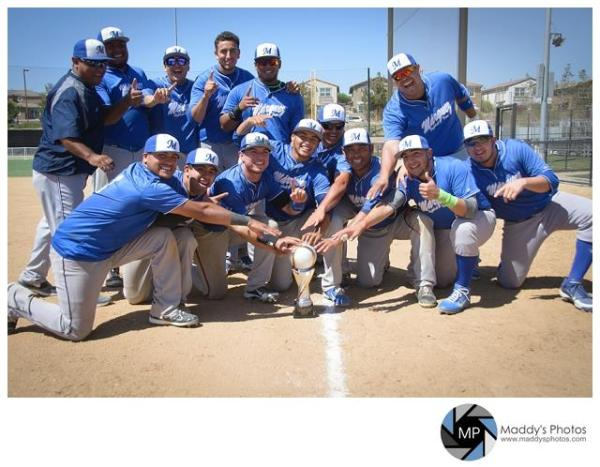 Team Marquez of Mexico, winners of the 2014 Cal Classic at Santee California, with the Tim Hunt Memorial Trophy. The squad rallied in the 7th inning of the final game to capture the title. Congrats to them. Bien hecho! (Photo by Maddy Flanagan, Maddy's Photos — in Santee, CA.