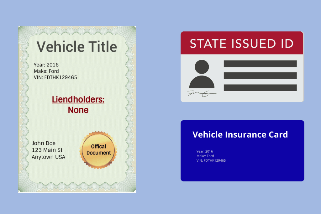 vehicle title, ID, and insurance card on blue background