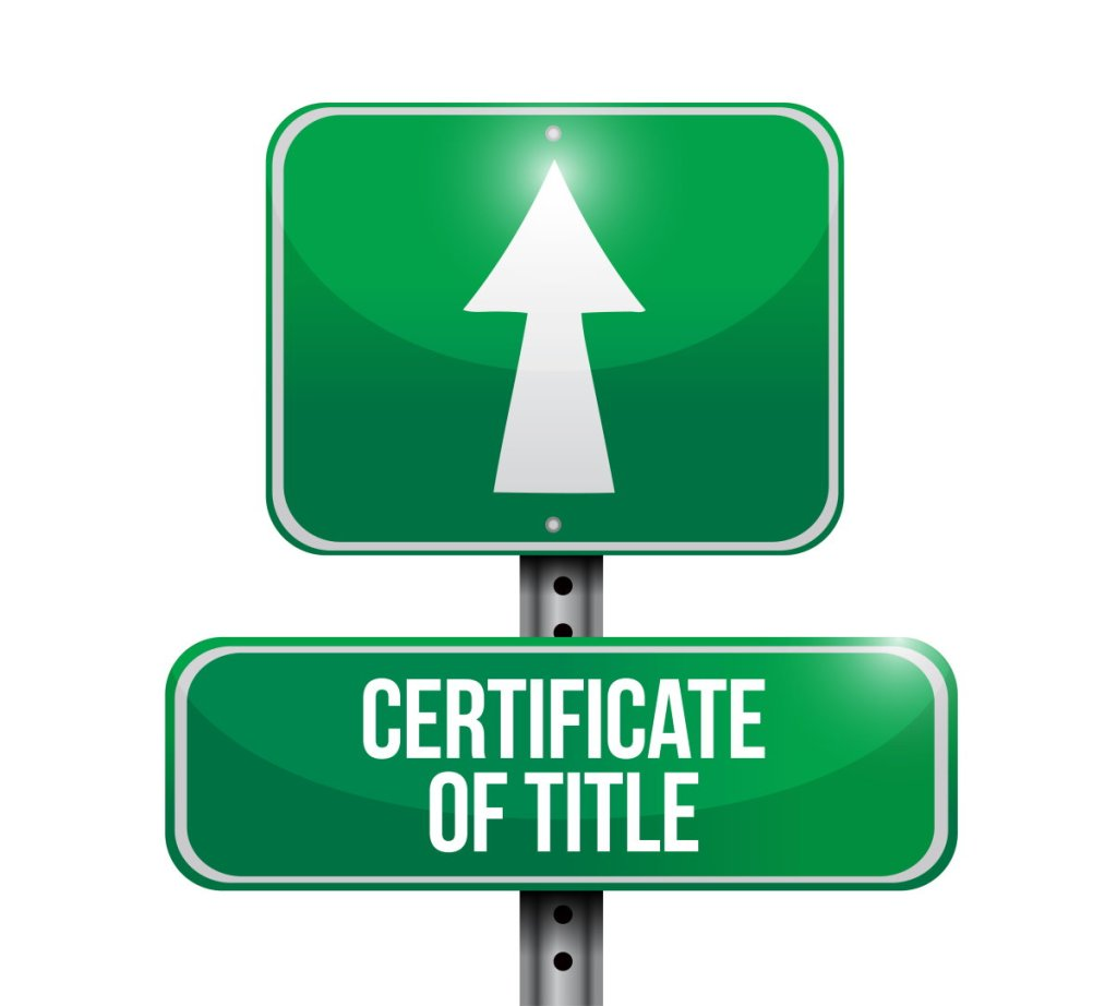 Certificate of title Sign