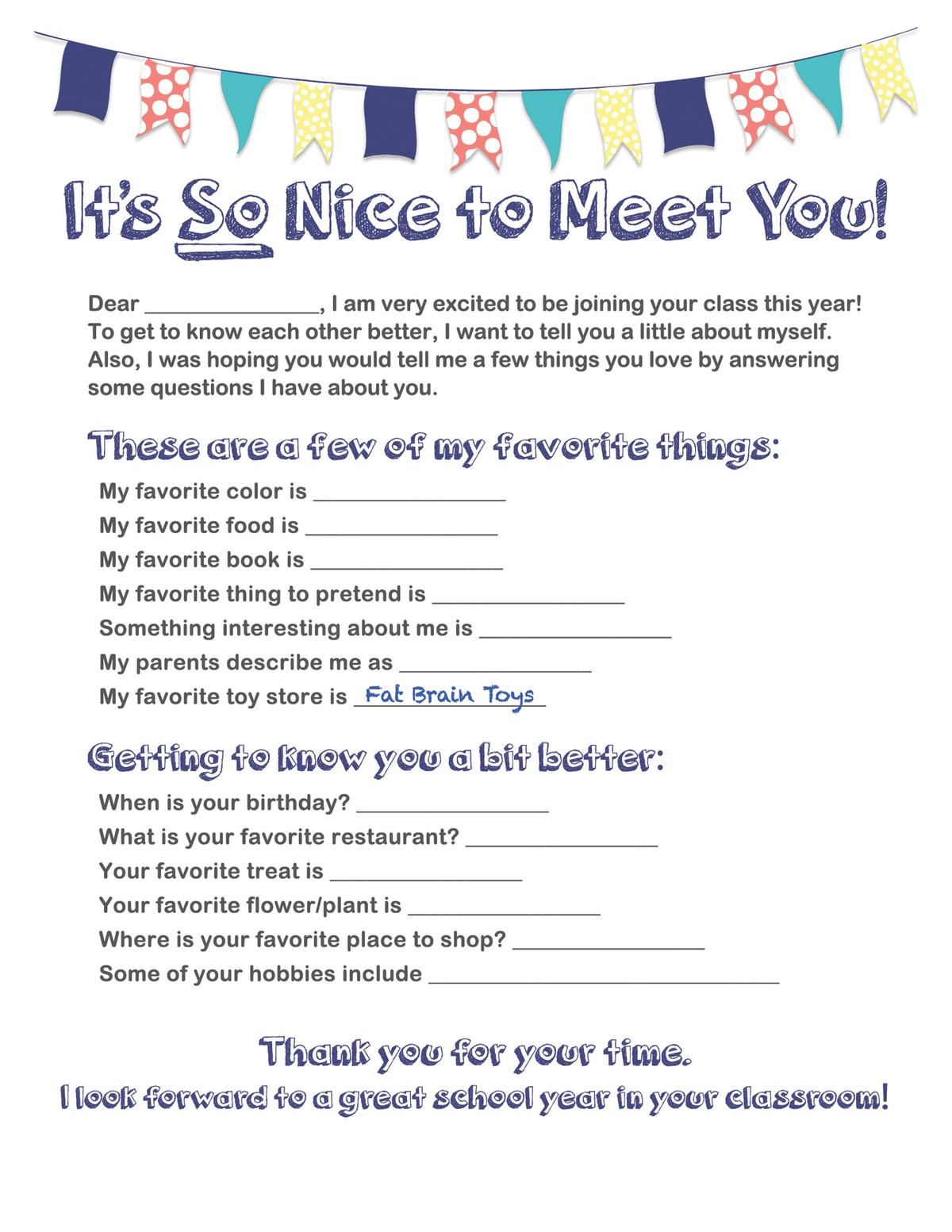 Toy Worksheet Printable Questionnaire