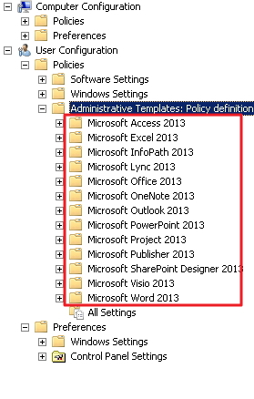 MS Office 2013 GPO Admin Template expanded