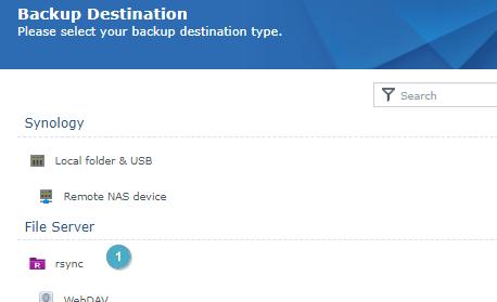 Backup Destination  Please select your backup destination type.  Synology  folder & LJS-B  NAS ice  File Server