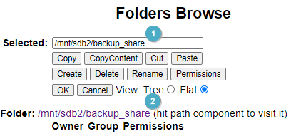 Folders Browse  Selected: ImnVsdb2/backup_share  View: T e C) Flat @  Folder: /mnVsdb2/backup_snare hit path component to visit it)  Owner Group Permissions