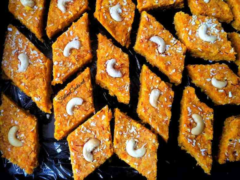 Gajar Ki Barfi - Carrot Fudge - A traditional Indian/Pakistani Mithai (dessert)