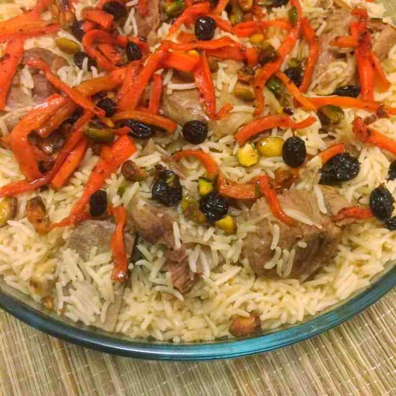 Kabuli Pilau - Afghanistani Rice with Mutton, Raisins, Nuts and Carrots