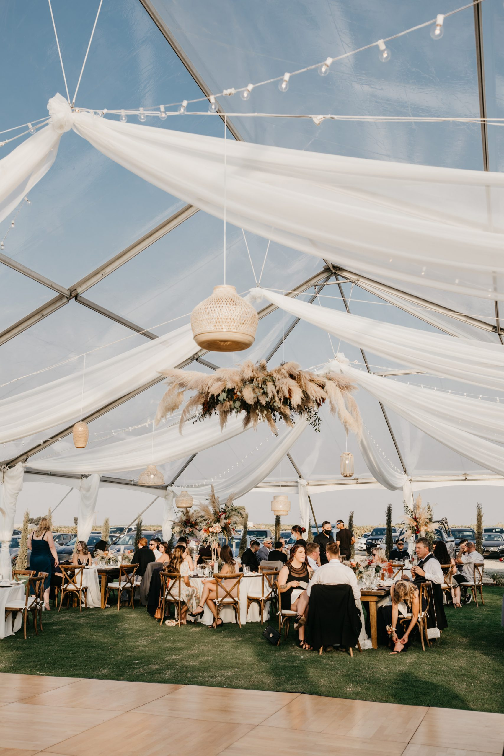 Evanelle Vineyards Wedding Reception with transparent clear tent, image by Fatima Elreda Photo