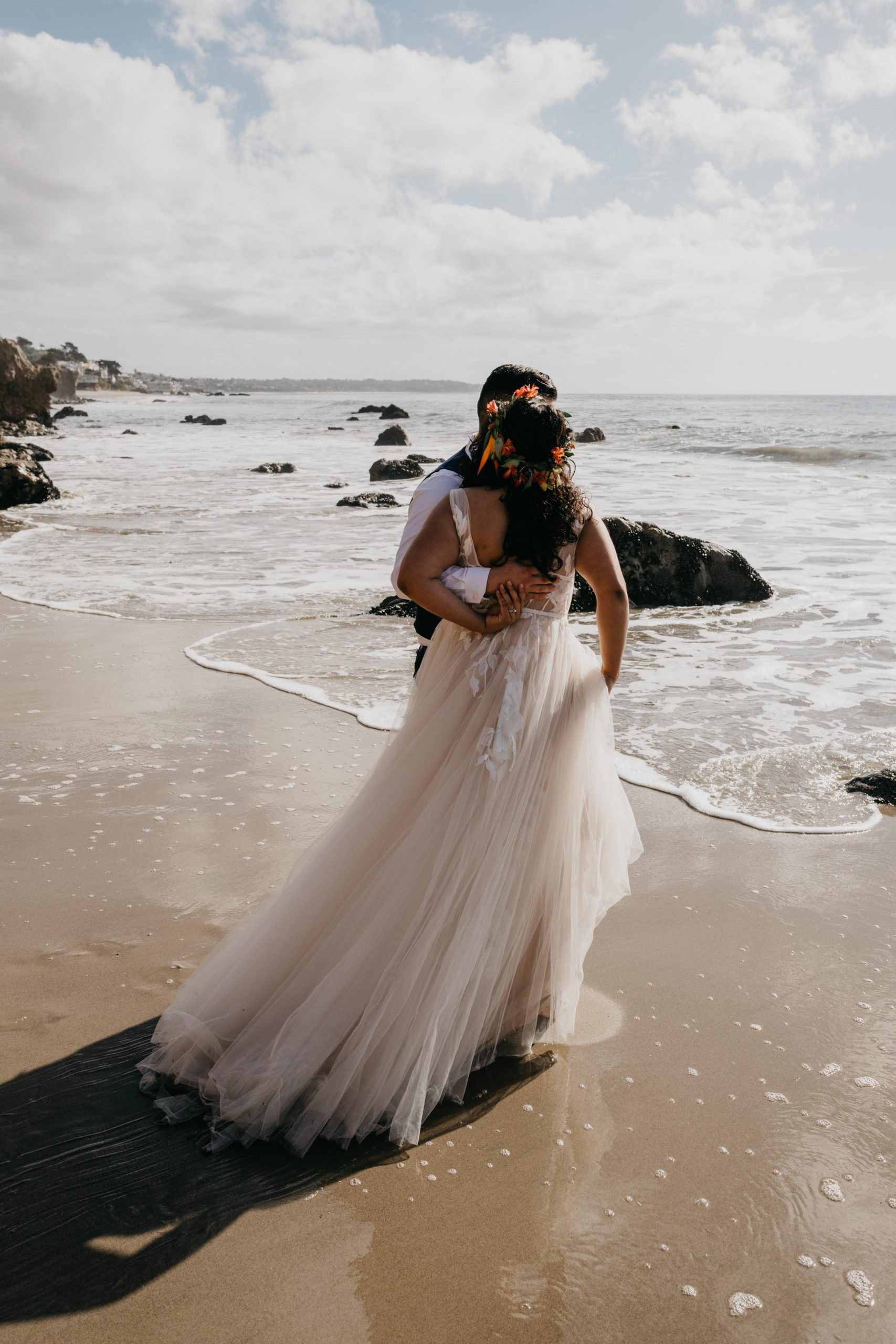 Bride and Groom portrait in El Matador Beach Elopement, image by Fatima Elreda Photo