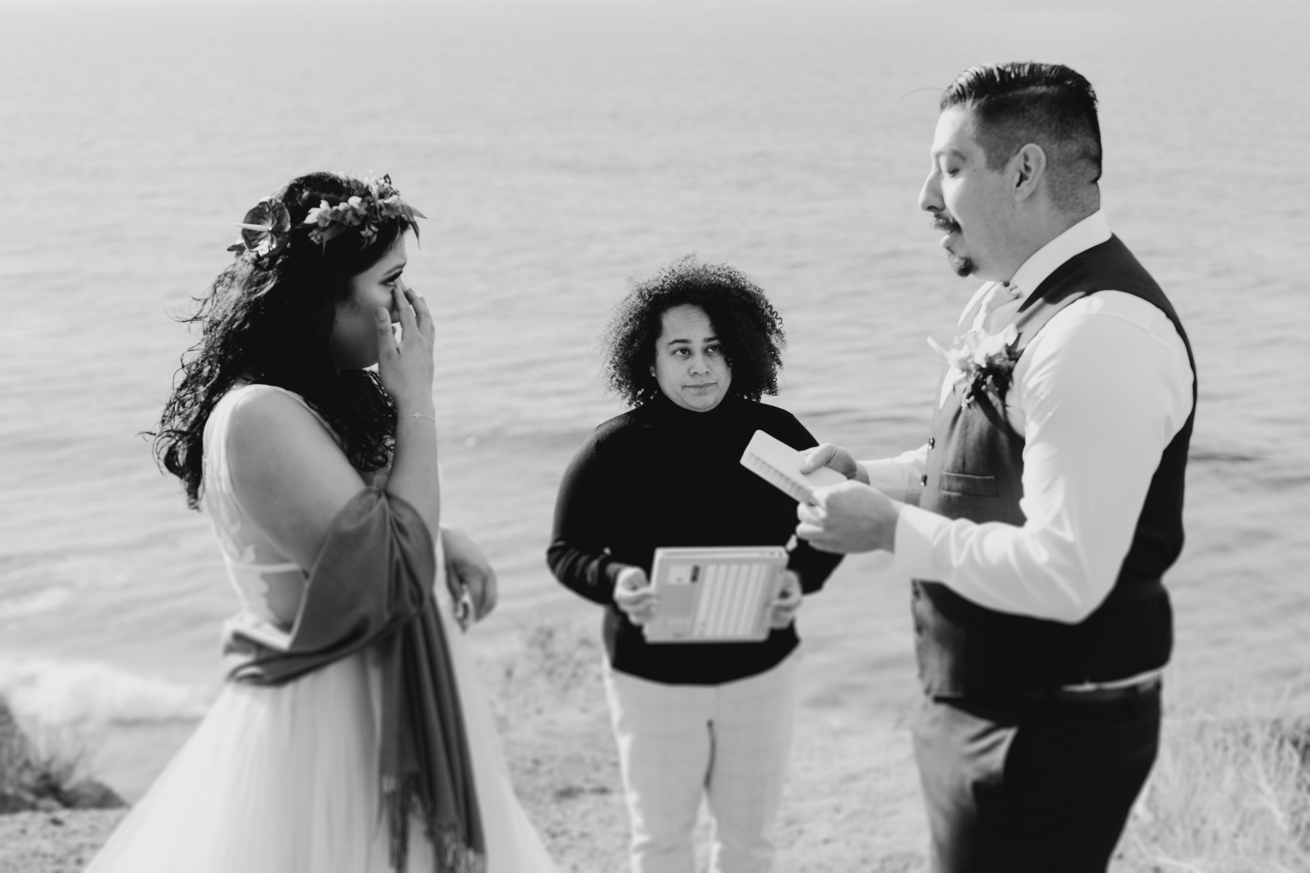 Bride and Groom reading their vows, image by Fatima Elreda Photo