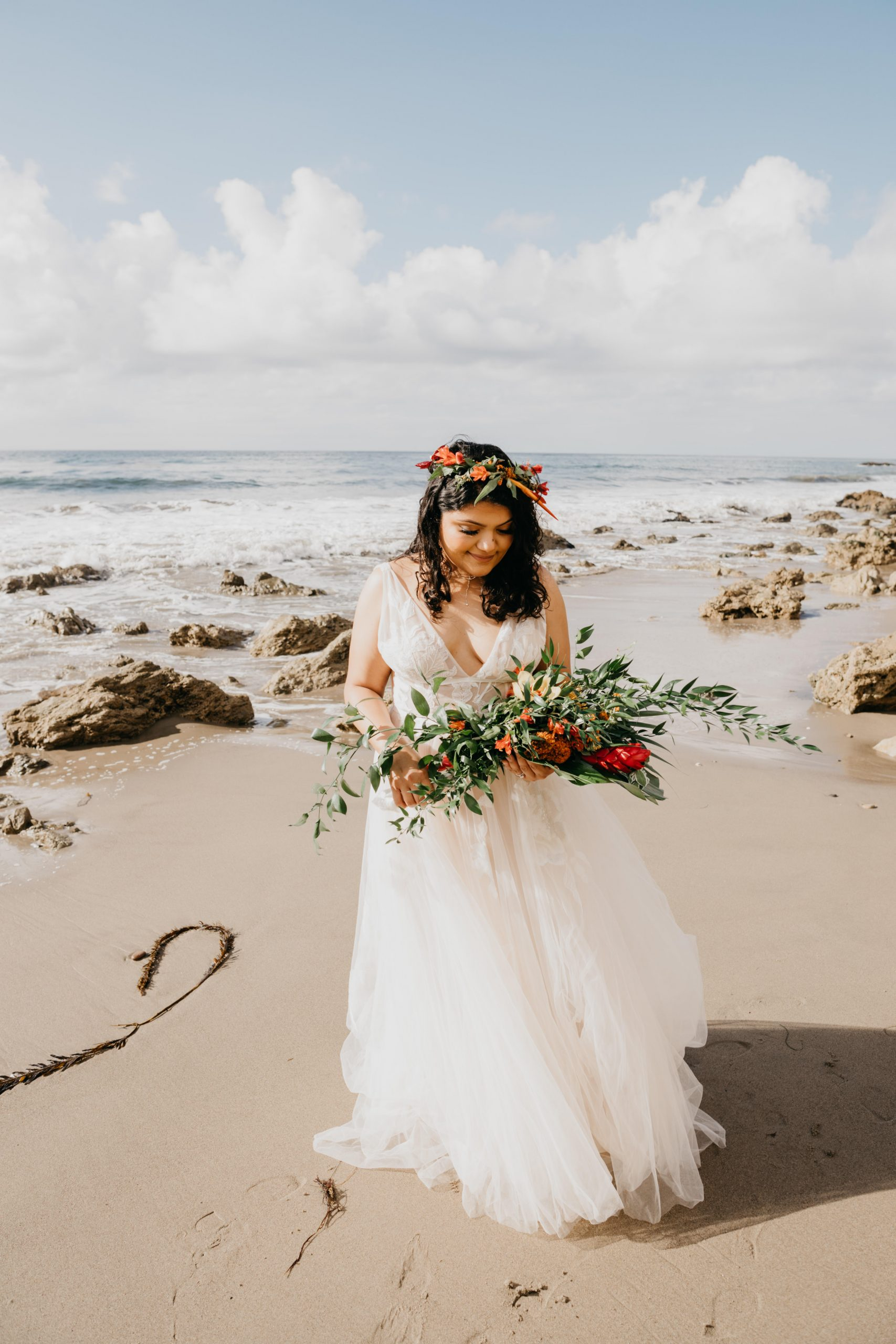 Bride portrait in the beach, image by Fatima Elreda Photo