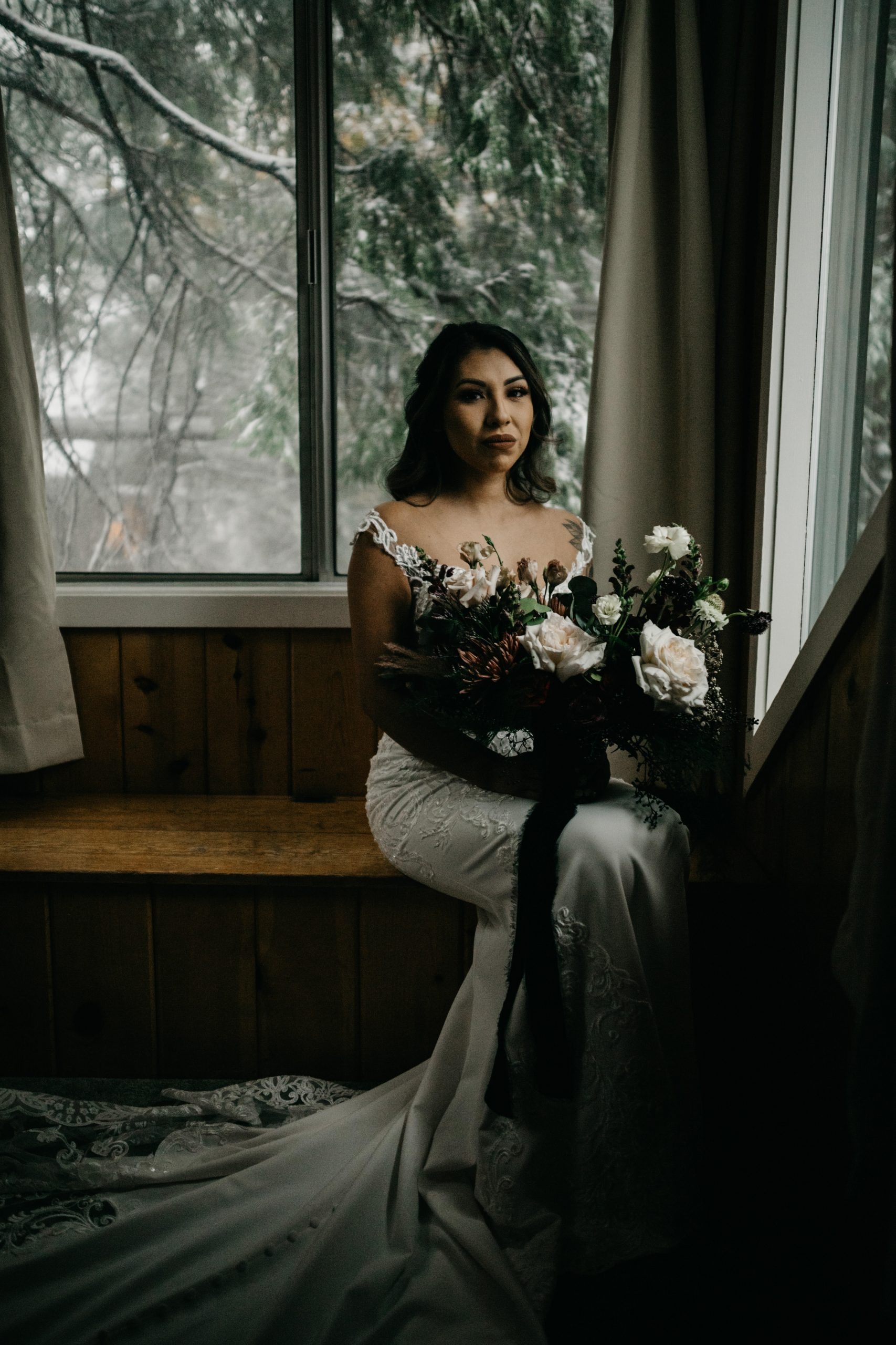 Bride Portrait in Arrowhead Pine Rose Cabin, image by Fatima Elreda Photo