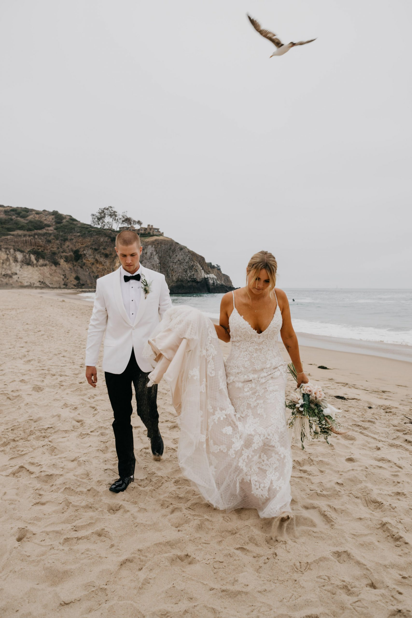 Bride and Groom portraits in Crystal Cove State Park Wedding in Laguna beach, image by Fatima Elreda Photo
