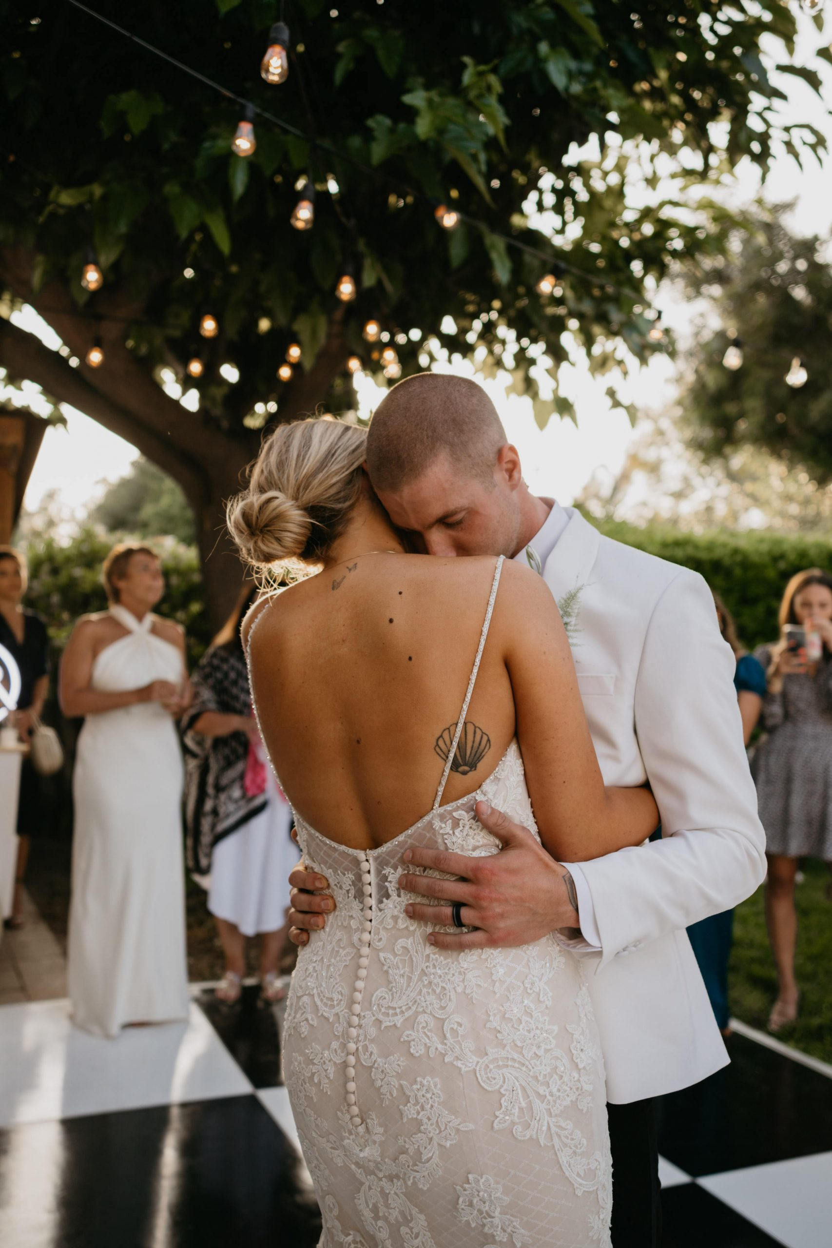 Bride and Groom First Dance in Laguna Beach Backyard Wedding, image by Fatima Elreda Photo