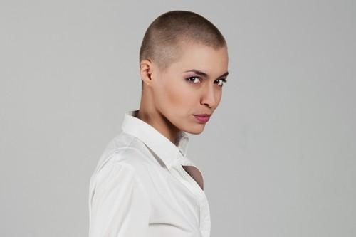 Woman with extreme hairdo