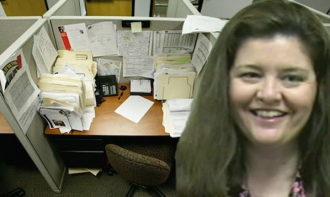 BXAHA1 Cubicle Packed with Paperwork