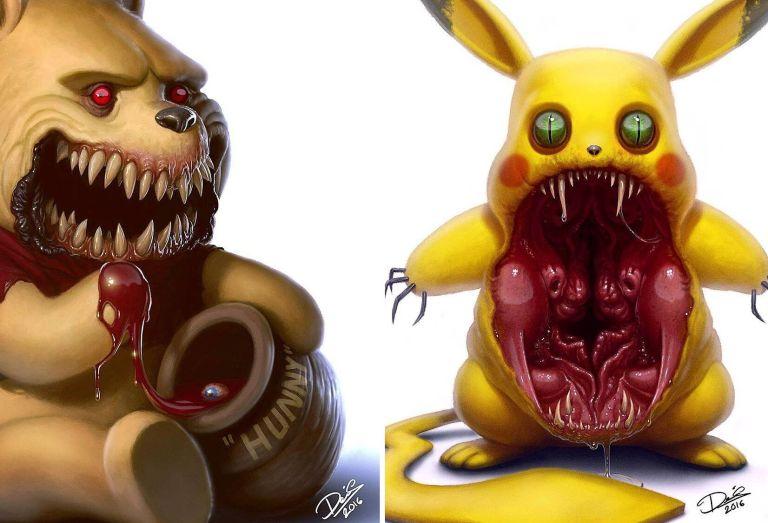 E se fossem monstros? Artista transforma 12 personagens animados em criaturas terríveis