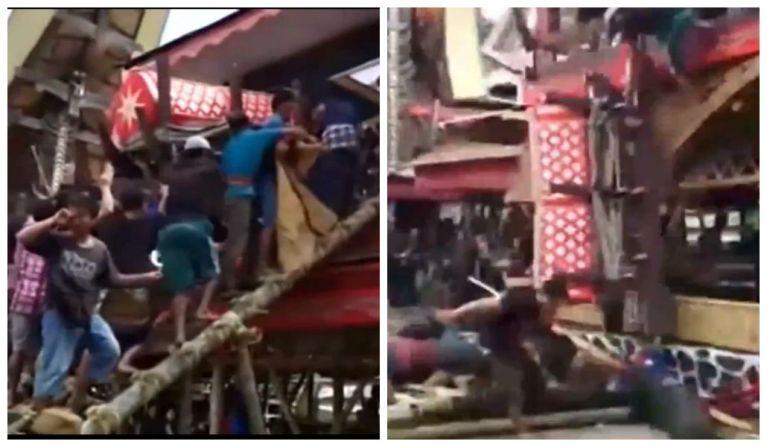Homem morre em funeral após ser esmagado pelo caixão da própria mãe [Vídeo]