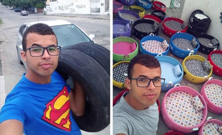 Brasileiro ajuda o planeta transformando pneus velhos em caminhas para cães