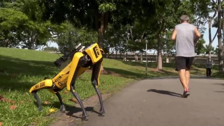 Em Singapura, cão robô impõe o distanciamento social em parque
