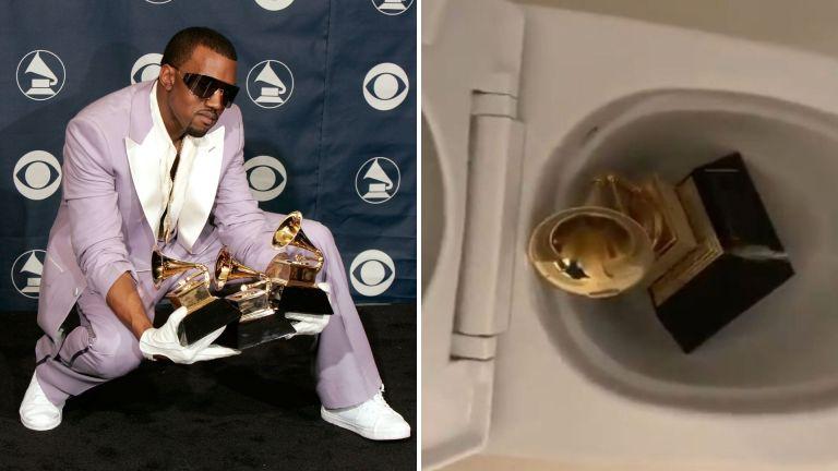 Por que Kanye West fez um vídeo fazendo xixi em seu Grammy?