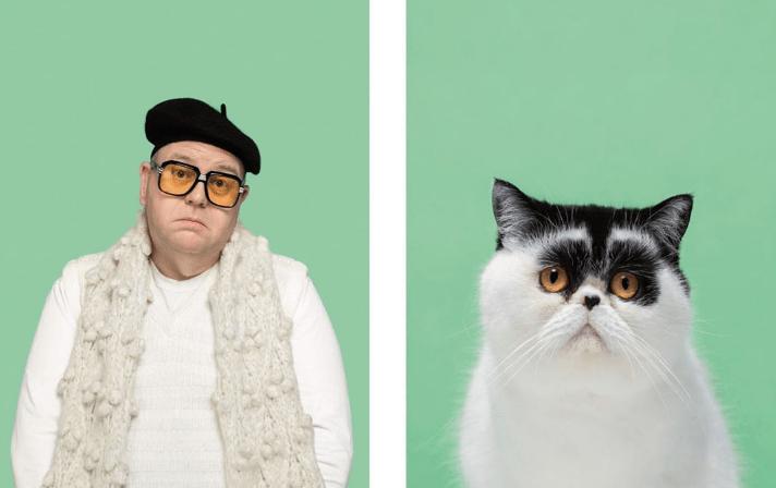 Fotógrafo faz projeto para mostrar que humanos e gatos são idênticos