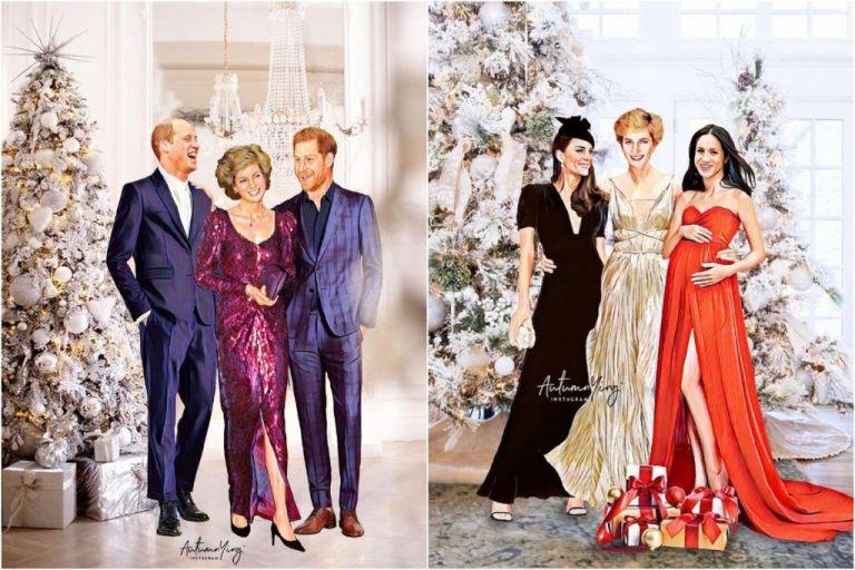 Artista fez ilustrações de como a Família Real Britânica seria se Lady Di ainda estivesse viva