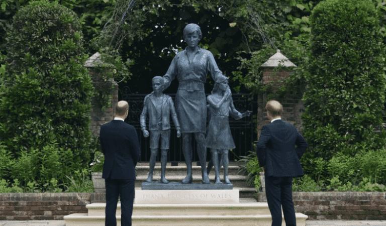 Porque na estátua de Lady Di tem três crianças com ela?