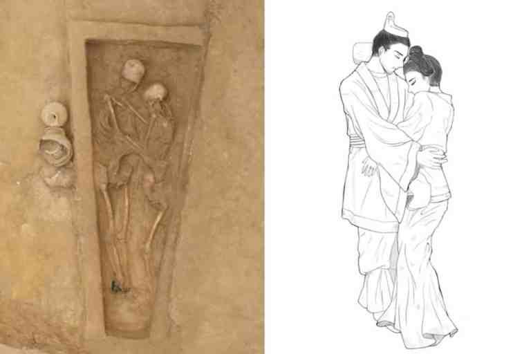 Namorados de 1.500 descobertos na China em um abraço eterno