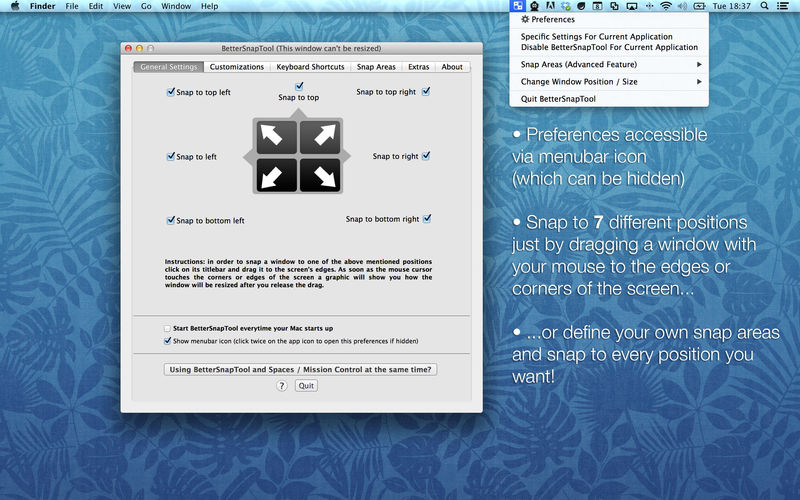 How to go to default on better snap tool for mac