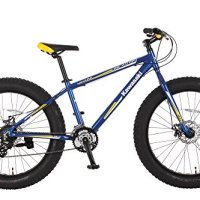 Kawasaki Mihari Fat Tire Bike, aluminum, 26x4 inch wheels, Blue/Yellow
