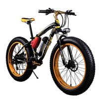 RICH BIT TP012 Electric Fat Bike Mountain Bicycle Snow Bike Cruiser Ebike 350W Motor 36V Lithium Battery Dual Brakes with Shimano 21 Speeds System 20''4.0 inch Fat Tire Suspension Fork YELLOW