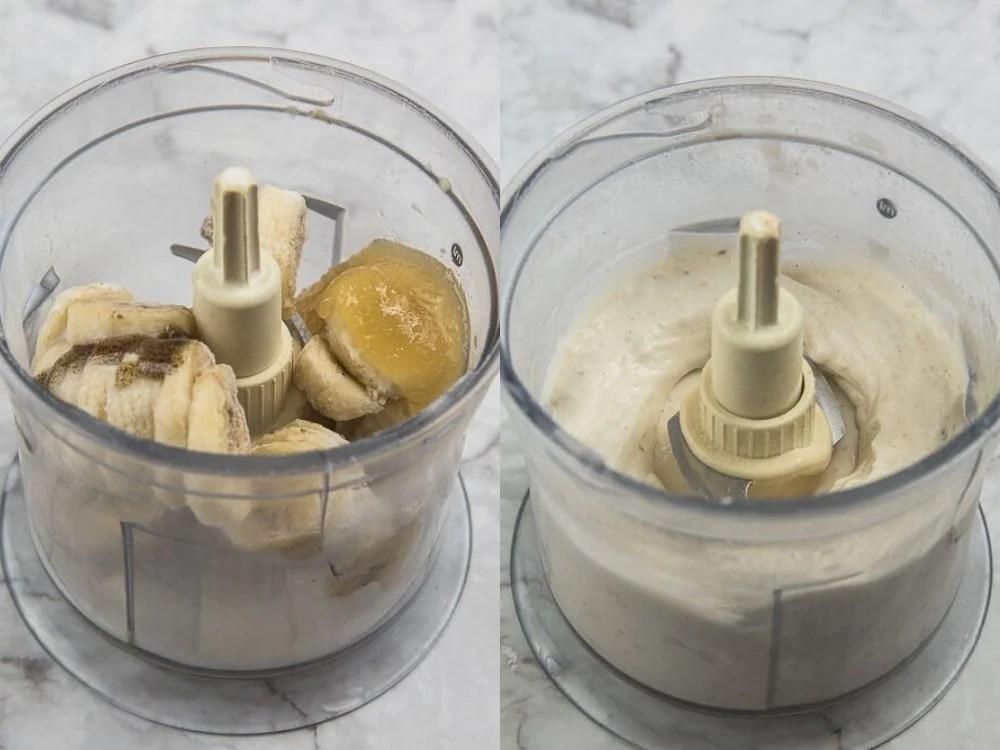 Per realizzare il gelato alla banana abbiamo messo nel tritatutto 200 gr di banana congelata, 50 ml di latte vegetale, 20 gr di miele e un cucchiaino di estratto di vaniglia. Abbiamo frullato tutto fino ad avere un composto cremoso.