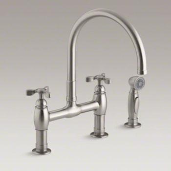 kohler k 6131 3 vs parq deck mount bridge kitchen faucet with spray and tri handles vibrant stainless