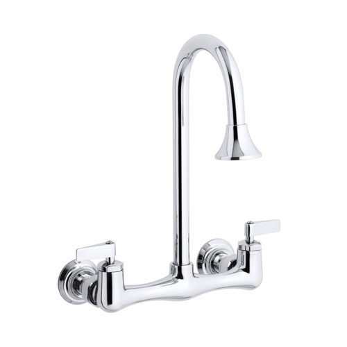 kohler k 7319 4 cp triton double lever handle utility sink faucet with rosespray gooseneck spout chrome