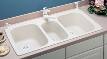 swanstone kstb 4422 010 triple bowl kitchen sink white