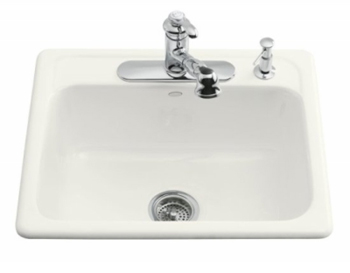 kohler k 5964 1 0 mayfield self rimming kitchen sink with single hole drilling white