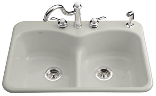 kohler k 6626 4 95 langlade smart divide kitchen sink 4 faucet hole drilling ice grey faucet and accessories not included